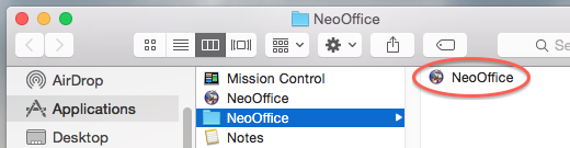 Image:NeoOffice installation folder macappstore.png
