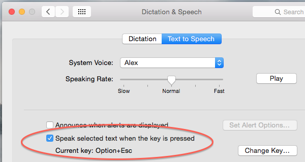 Enable text to speech in OS X System Preferences application
