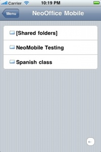 Screen snapshot of listing uploaded files on an iPhone